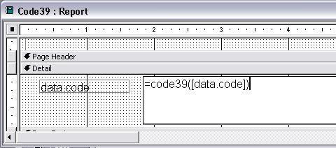 Code39 código de barras access macro
