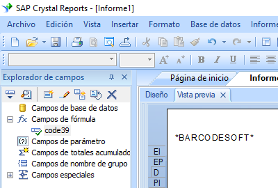 Code39 código de barras crystal reports fórmula campo