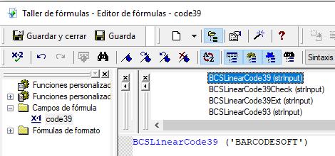 Code39 código de barras crystal reports UFL