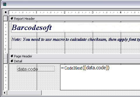 Code39-Extendido código de barras access macro
