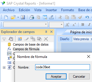 Code39-Extendido código de barras crear fórmula crystal reports