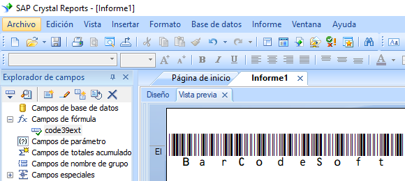 Code39-Extendido código de barras crystal reports