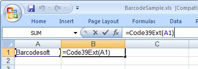 Code39-Extendido código de barras Excel macro