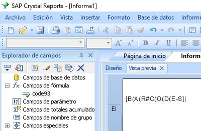 code93 código de barras crystal reports fórmula campo