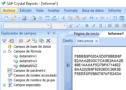 data-matrix crystal reports fórmula campo