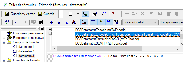 data-matrix crystal reports fórmula campos