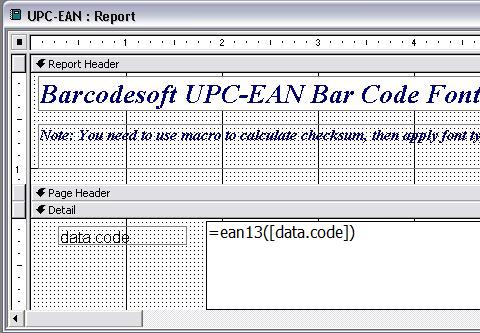 UPC-A código de barras access macro