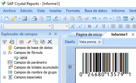 EAN13 código de barras crystal reports