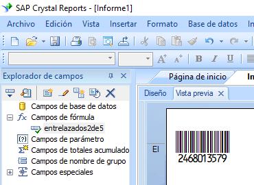 Entrelazados-2-de-5 código de barras crystal reports