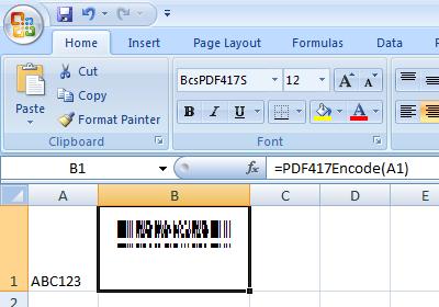 PDF417 excel