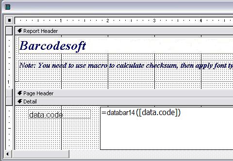 gs1-databar código de barras access macro