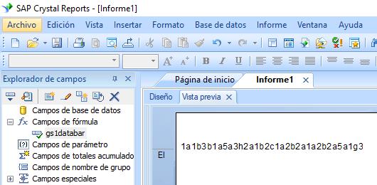 gs1-databar código de barras crystal reports fórmula campo