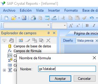 gs1-databar código de barras crear fórmula crystal reports