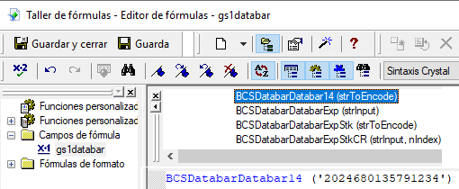 gs1-databar código de barras crystal reports UFL