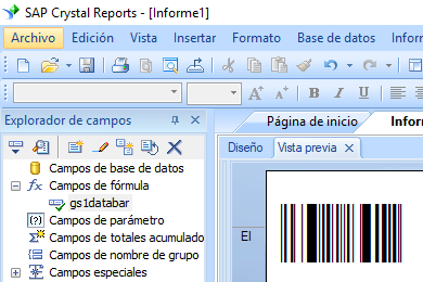 gs1-databar código de barras crystal reports