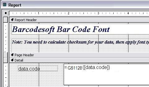 GS1128 código de barras access macro