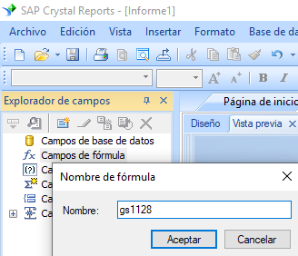 GS1128 código de barras crear fórmula crystal reports