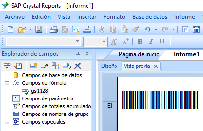 GS1128 código de barras crystal reports