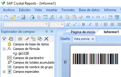 GS1128 código de barras crystal reports