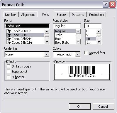 GS1128 código de barras fuente excel