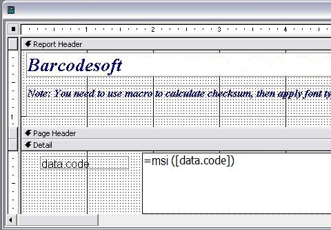 MSI código de barras access macro