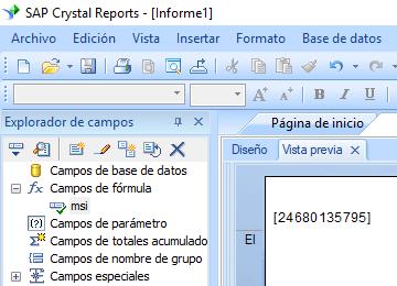 MSI código de barras crystal reports fórmula campo