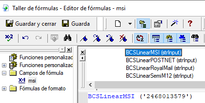MSI código de barras crystal reports UFL