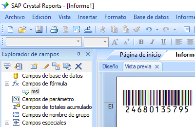 MSI código de barras crystal reports