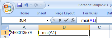 msi código de barras Excel macro