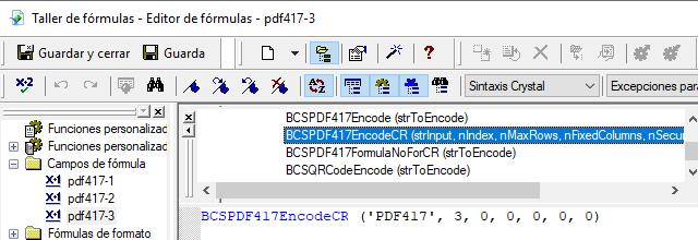 PDF417 crystal reports fórmula campos