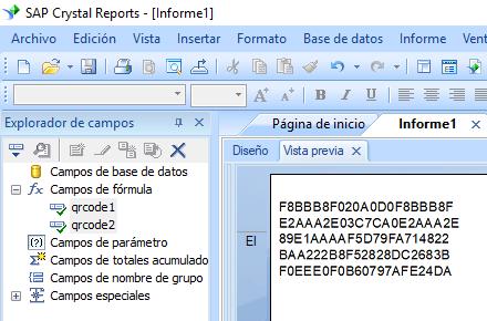 QRCode crear fórmula crystal reports