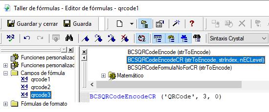 QRCode crystal reports fórmula campos