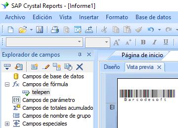 Telepen código de barras crystal reports