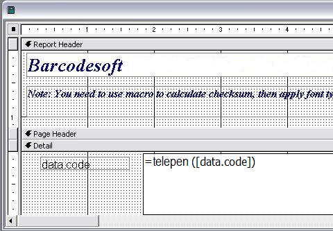 Telepen código de barras access macro