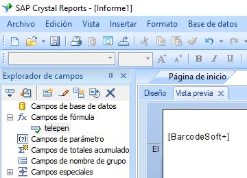 Telepen código de barras crystal reports fórmula campo