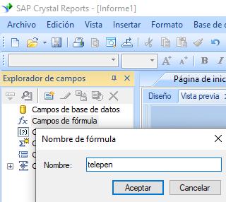 Telepen código de barras crear fórmula crystal reports