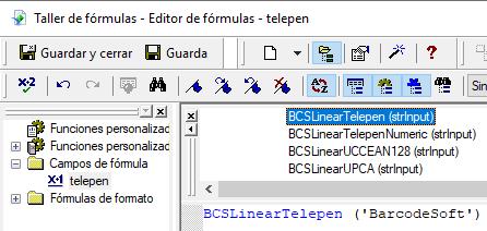 Telepen código de barras crystal reports UFL