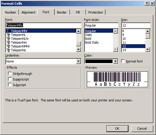 Telepen código de barras fuente excel