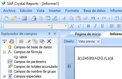UPCA código de barras crystal reports fórmula campo