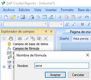 UPCA código de barras crear fórmula crystal reports