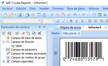 UPCA código de barras crystal reports