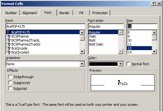 PDF417 typeface excel