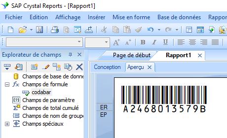 code à barres codabar crystal reports