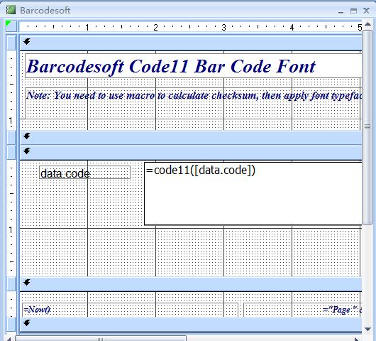 code à barres code11 access macro