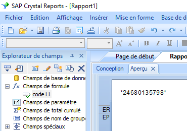 code11 barcode crystal reports UFL