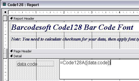 code à barres code128 access macro