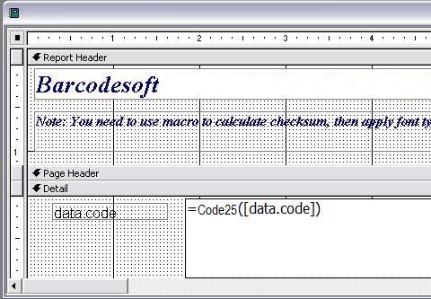 code à barres code25 access macro