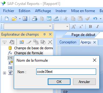code39 code à barre créer formule crystal reports