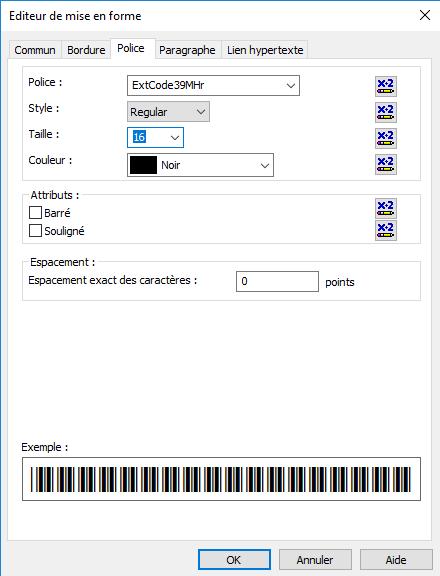 code39 code à barre font crystal reports