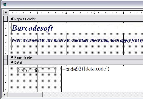 code à barres code93 access macro